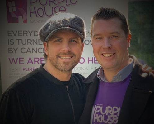 Robbie Doyle pictured with Conor O'Leary from Purple House Cancer Support
